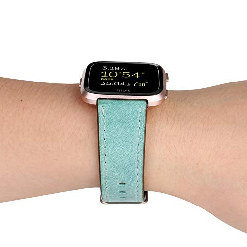 (Larmly For Fitbit Versa Slim Premium Leather Band Replacement Strap For Women Men(D))