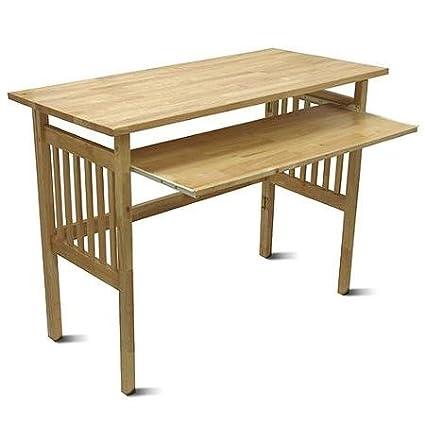 Plegable mesa de ordenador con bandeja de teclado extraíble, pino ...