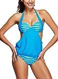 Zando Women American Flag Stripe Star Lined Tankini Bikini Athletic Two Piece Bathing Suits Plus Size Swimsuit for Women