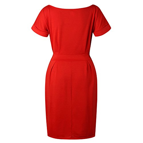 Red Knee Length Pockets Sleeve Short Dress Belted Casual Women's with Asskdan pqv4w