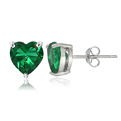 Sterling Silver Created Emerald 7mm Heart Stud - Shaped Heart Emerald