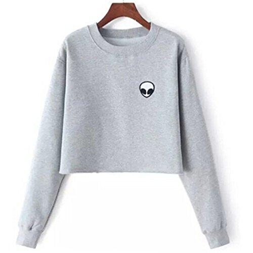 lifelovevc Women Cute Alien Long Sleeve Pullover Hoodie Sweatshirt Shirt Blouse Crop Tops ()
