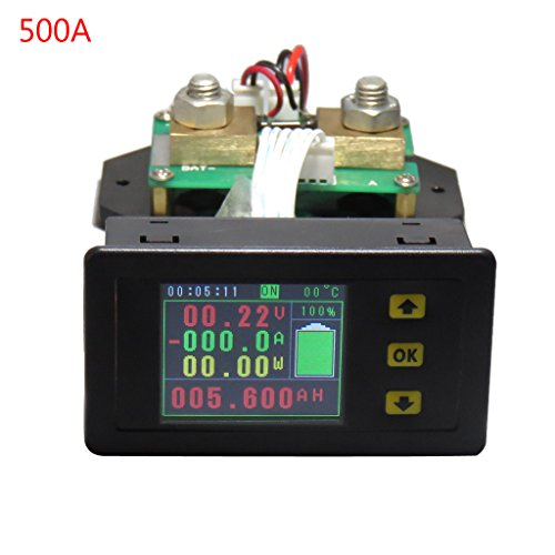 Display Digital Multimeter - ShapeW Digital Multimeter LCD Display Voltmeter Ammeter DC120V 100A/200A/300A/500A Voltage Ampere Meter Electric Energy Power Time Multi-fuction Meter Battery Capacity Monitor Tester (500A)