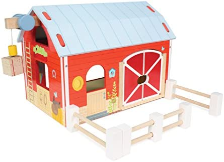 Le Toy Van - Educational Wooden Toy Colourful Wooden Red Barn | Great Interactive Role Play Gifts for A Boy Or Girl - 3+ Years