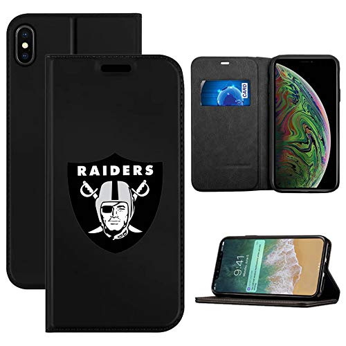 Raiders iPhone Xs X Wallet Case Raiders Flip Folio Leather Cover Card Slot Holder with Kickstand and Magnetic Closure Compatible with iPhone X/XS 5.8 -