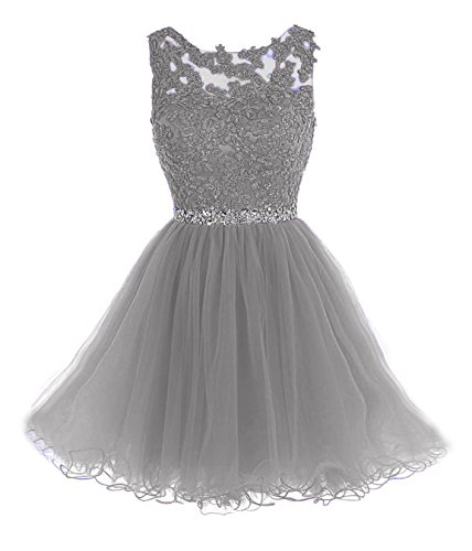 Sarahbridal Women's Tulle Short Homecoming Dresses Applique Lace Prom Party Gowns Gray US6