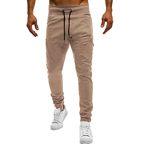 Farjing Men's Pant Clearance,Men's Fashion Pure Color Casual Loose Sport Bandage Sweatpants Drawstring (Cord Bootcut Jean)