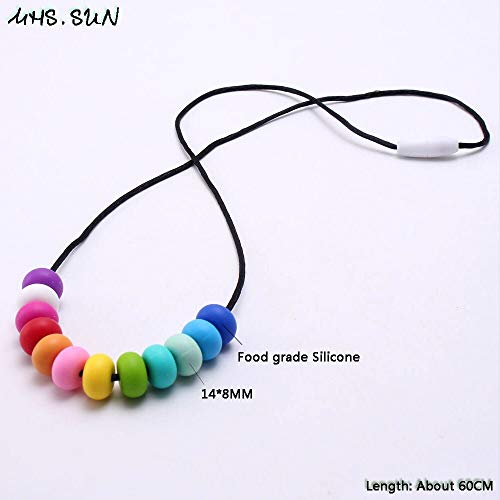 Rainbow Color Silicone Teething Necklace | Food Grade Silicone Nursing Necklace | for Baby Mommy ()