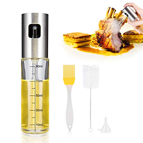 Olive Oil Sprayer, iTrunk Oil Dispenser Stainless Steel Refillable Oil Sprayer Food-grade Glass Vinegar Bottle with Free Oil Brush, Cleaning Brush and Funnel for Cooking, Making Salad and Grilling