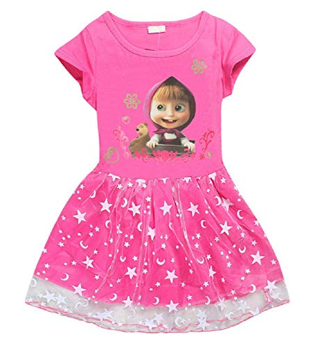 Toddler Girls' Masha and The Bear Short Sleeve Dress with Lace Princess Dress Up for 2-6Years (Rose, 4T)