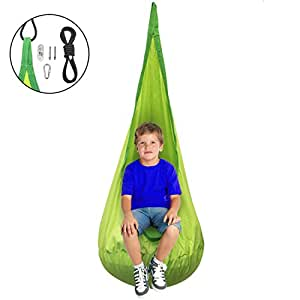 Sorbus Kids Pod Swing Chair Nook - Hanging Seat Hammock Nest for Indoor and Outdoor Use – Great for Children, All Accessories Included (Nook Green)