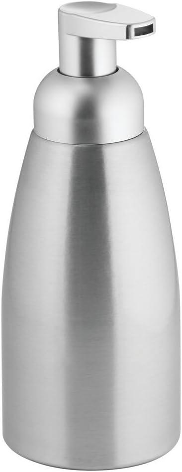 InterDesign Metro anticorrosiva 8.5 oz Cepillado//Plateado Mate dosificadora de jab/ón Espuma para mesada de Cocina Bomba de Aluminio tocador del Cuarto de ba/ño