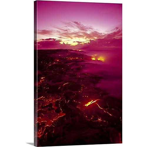 - Hawaii, Big Island, Hawaii Volcanoes National Park, Kilauea Volcano Lava Flow Canvas Wall Art P.