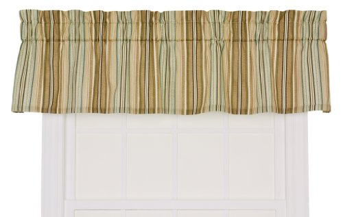Stripe Blue Tailored Valance - Ellis Curtain Kensington Stripe 70-By-12 Inch Tailored Valance, Blue