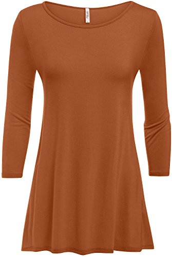 Simlu Womens Tunic Tops for Leggings Reg and Plus Size 3/4 Sleeve Tunic Shirt-USA Terra Cotta Small