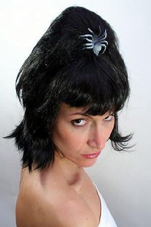 Wig Me Up PW008-P103 ELVIRA Drácula - Peluca Halloween, vampiros, bruja, color negro, corta: Amazon.es: Juguetes y juegos