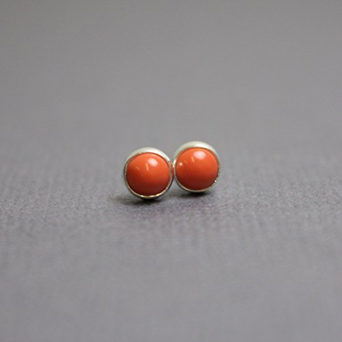 Salmon Coral Stud Earrings-4mm All Sterling Silver-Simulated Coral - Pink Coral Earrings