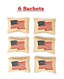 West Ten 6 Patriotic USA America American Apple Pie Scented Sachet Sachets Bags for Drawer, Dresser Clothes Storage - Moth Repellent, Freshener