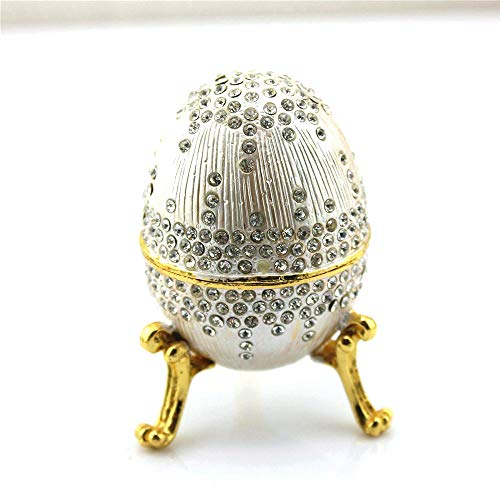 SY Crafts Silver Faberge Egg Decorative Boxes Egg Hinged Jewelry Ring Holder Collectible Figurine Boxes