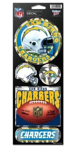 (NFL San Diego Chargers Prismatic Stickers, Team Color, One Size)