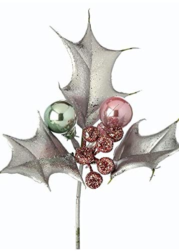 Silver Glittered Fake Holly Berry & Bulb Ornament Pick - 6