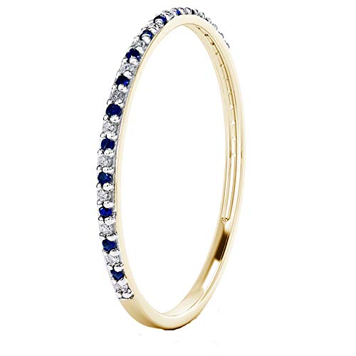 Buy Jewels 14k Gold Dainty Half Band Natural Diamond and Blue Sapphire Wedding Anniversary Ring (Yellow-Gold, 7) ()