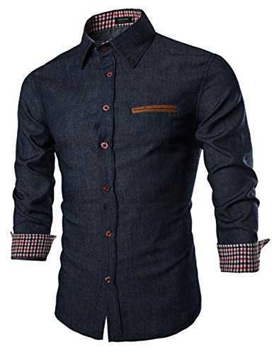 COOFANDY Men's Casual Dress Shirt Button Down Shirts, Type 01 - Navy Blue, Small -