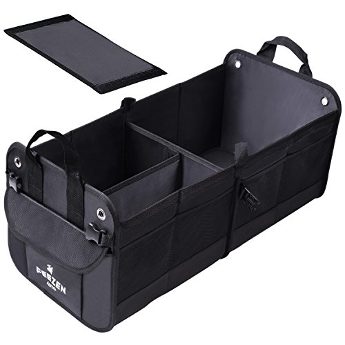 Feezen Car Trunk Organizer Best For Suv  Vehicle  Truck  Auto  Minivan  Home   Heavy Duty Durable Construction Non Skid Waterproof Bottom  Black