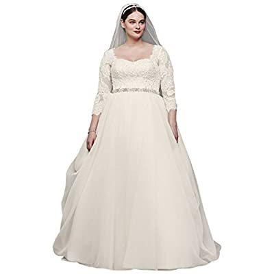 Oleg Cassini Plus Size Organza 3/4 Wedding Dress Style 8CWG731