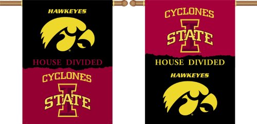 NCAA Iowa - Iowa State 2-Sided House Divided Rivalry Banner Flag 28 x 40in
