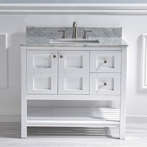 "WOODBRIDGE Top 36""X21"" Vanity with Rectangle Bowl, White Color. Sydney-3621R"