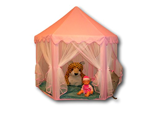Pink Princess Tent to Play Indoor and Outdoor with Lights. Extra Large 55 x 53 inches Toys Storage Room like a Fairy Castle Suitable for Children, Toddlers, Boys or Girls. Perfect Gift with bag.