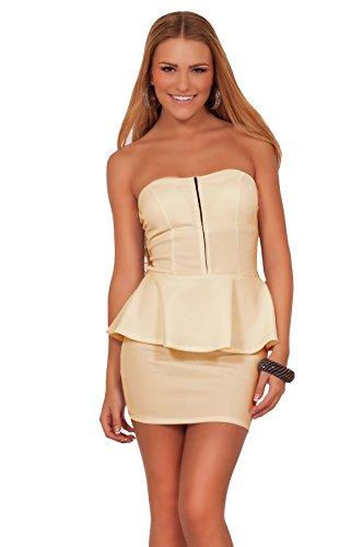 Juniors Peplum Cocktail Zipper Knit Sweetheart Strapless High Waist Mini Dress