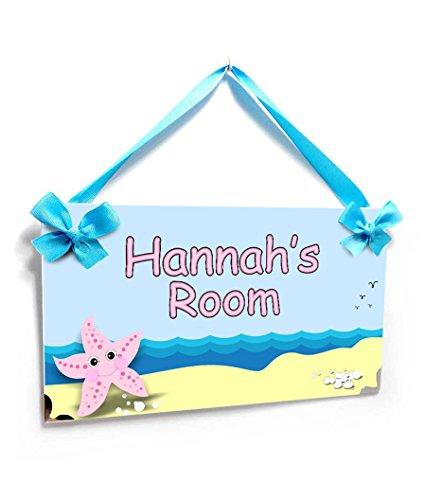 Girls Bedroom Name Door Sign Cute Pink Starfish Beach Theme (Starfish Pink)