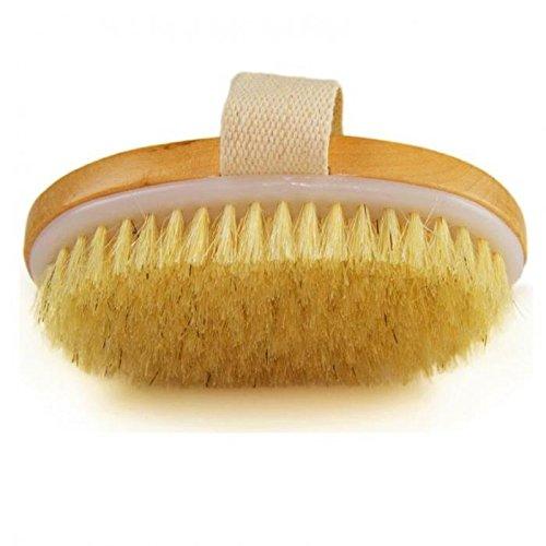 Piel Seca cepillo para polvo para cuerpo cepillo para polvo de mango de pincel de cerdas suave natural Bolsa Spa cepillo para...