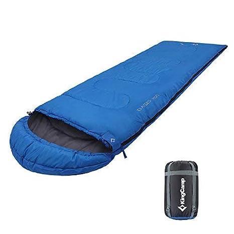KingCamp Oasis 200 Saco de Dormir Rectangular con Capucha para Acampada, Senderismo, Camping, Confortable y Ligero, hasta 11 Grados ºC, Tela Muy Resistente, ...