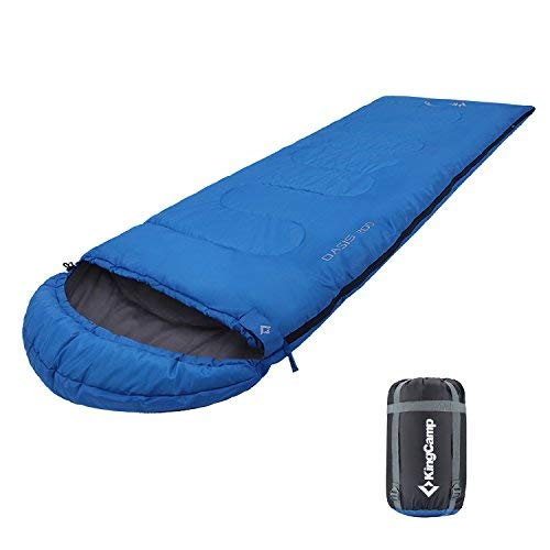 KingCamp Saco de Dormir Rectangular Oasis 200 por 3 Temporadas Bolsa de Dormir Encapuchad para Camping