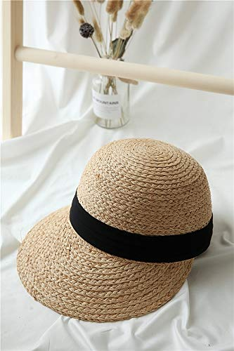 pei jin Hand-Woven Straw Hat Cap Summer Raffia Ribbon Wide-Brimmed Dome Cap Sun Travel (Woven Hand Cap Straw)