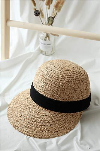 pei jin Hand-Woven Straw Hat Cap Summer Raffia Ribbon Wide-Brimmed Dome Cap Sun Travel