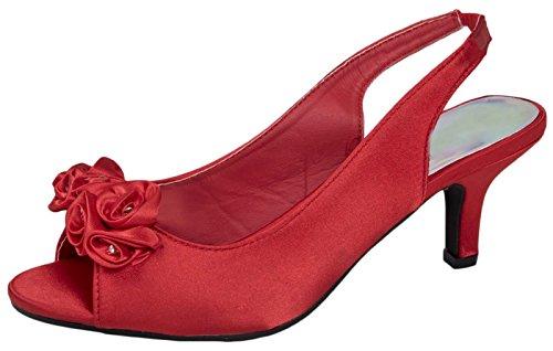 Femmes Diamante Chaussures De Mariée De Mariage De Partie Bas Talons Des Sandales En Satin Bride Arrière Dames Peeptoes Taille 3-8 Rouge
