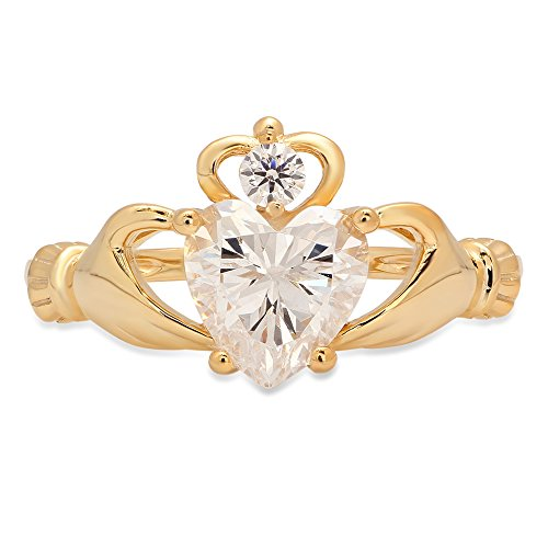 1.45ct Brilliant Heart Cut Irish Celtic Claddagh Solitaire Anniversary Statement Engagement Wedding Promise Ring in Solid 14k Yellow Gold for Women, 7