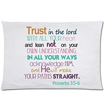 Trust in the lord with all your heart and lean not on your own understanding;In all your ways acknowledge him,and he will make your paths straight.Proverbs 3:5-6 Twin Side Zippered Pillowcase,pillowcover 20 X 30 Inch,Birthday/Christmas/Thanksgiving gift