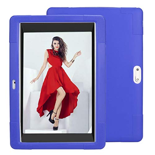 Translucent Blue Silicone Skin Case - YRD TECH Silicone Case,Compatible 10 10.1 Inch Android Tablet PC + Pencils +Film Universal Silicone Cover Case (Blue)