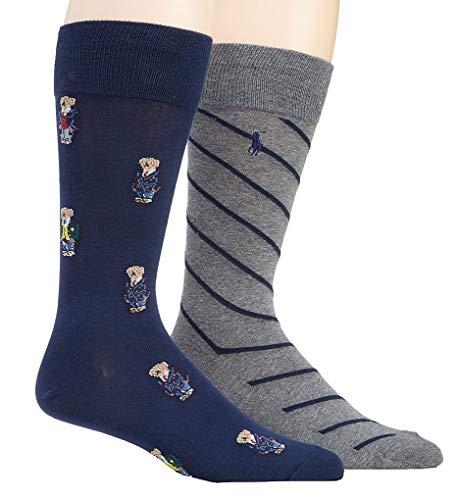 (Polo Ralph Lauren Men's 2-Pack Assorted Polo Bear Solid Dress Sock, Navy Assorted/Stripes (Preppy Bear))