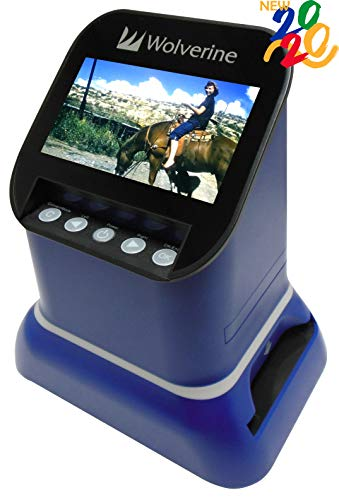 Wolverine F2D Saturn Digital Film & Slide Scanner – Converts 120 Medium Format, 127 Film, Microfiche, 35mm Negatives & Slides to Digital JPEG – Large 4.3″ LCD w/HDMI Output (Blue)
