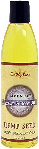 Earthly Body Hemp Seed [Lavender] Massage & Body 100% Natural Oil: Size 8 Oz by Blue Parrot