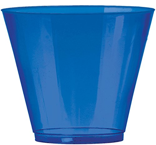 JAM PAPER Plastic Glasses Party Pack - 9 oz Tumblers - Royal Blue - 72 Hard Plastic Cups/Pack