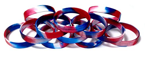 TheAwristocrat 1 Dozen Multi-Pack Red White & Blue Patriotic Wristbands Silicone Rubber Bracelets (Red White & Blue Swirl, Adult (8