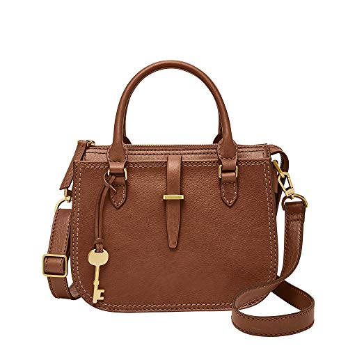 Fossil Women's Ryder Leather Small Satchel Handbag, Brown