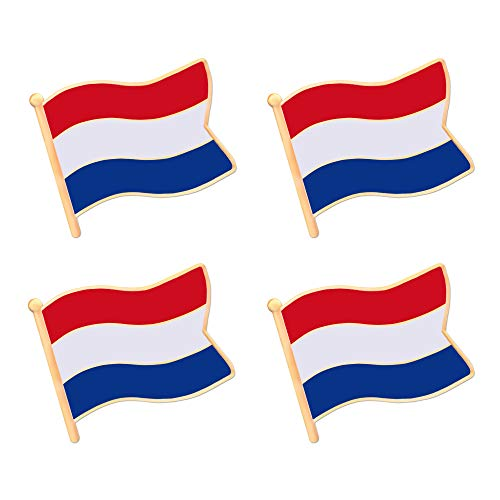 ALEY Netherlands Dutch Holland Flag Lapel Pin Decorations (4 Pack)